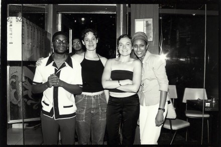 Co-founders Amy Katz (middle left) and Kate Cassidy (middle right), with 52 inc. staffer/collaborators Elliot George and Wudasie Efrem, on the bar's final day. Photo courtesy of Kate Cassidy.