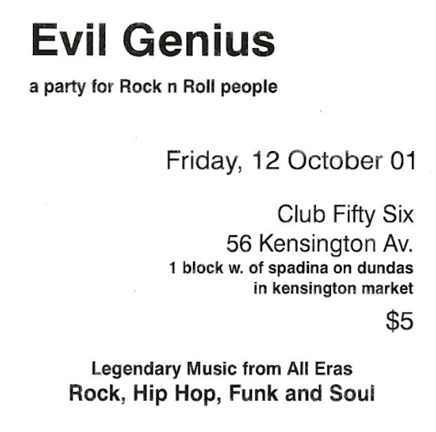 Flyer for the first Evil Genius party courtesy of Mike Wallace.