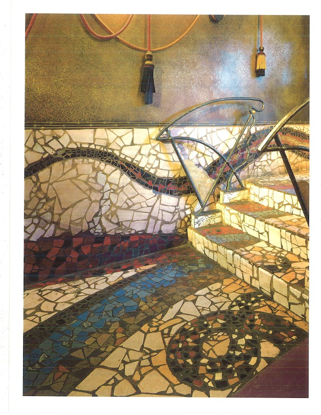 Kenny Baird's signature mosaic tiling, as featured in the Oct. 1991 edition of Interior Design magazine. Image courtesy of INK Entertainment.