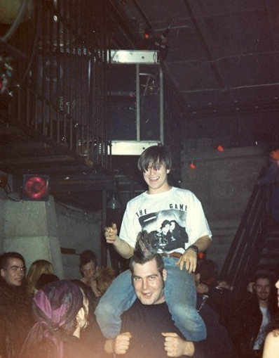 Michael X Mckinlay, on the shoulders of Big Dan. Photo courtesy of Sofie Weber.