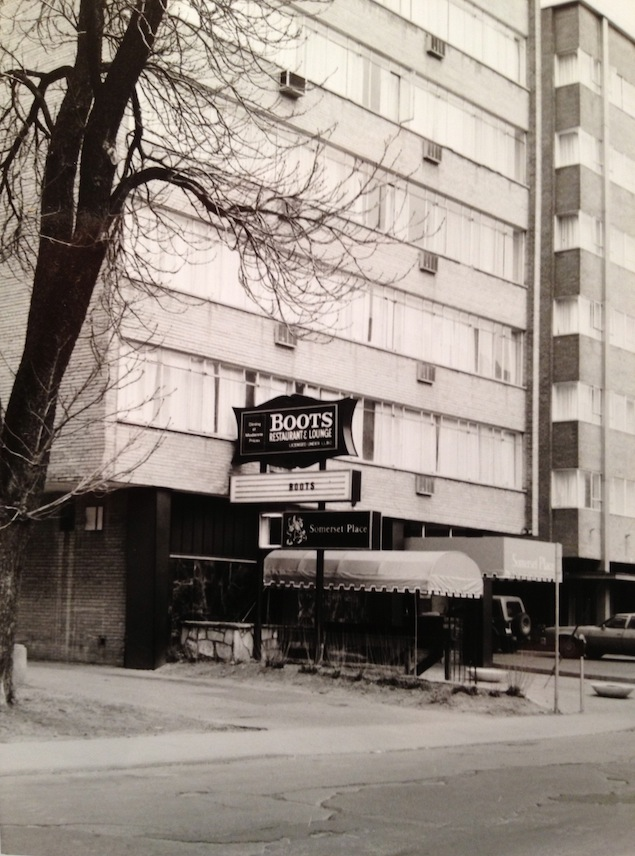 The original Boots on Charles Street. Photo by Joan Anderson, courtesy of the Canadian Lesbian & Gay Archives.