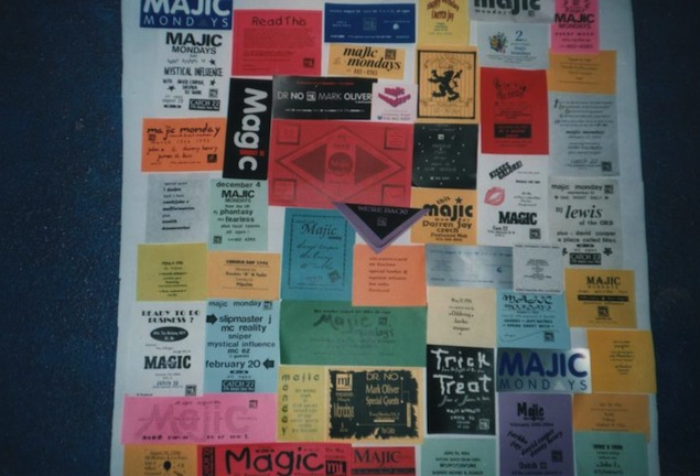 A collage of Majic Mondays flyers. Photo courtesy of Mary Ireton and Joan Tulloch.