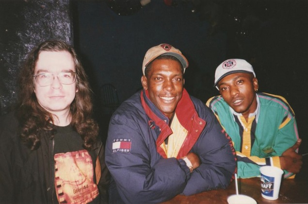 DJ Chris Twomey (left) with top UK junglists DJ Kenny Ken and MC Fearless. Photo courtesy of Mary Ireton and Joan Tulloch
