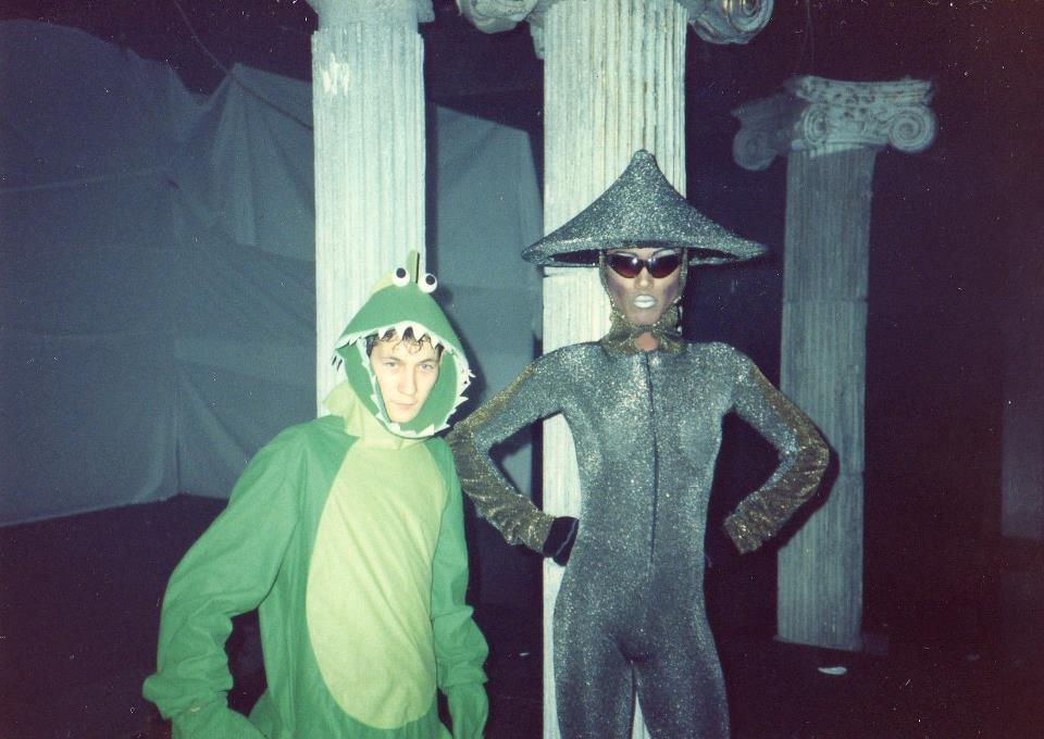 Jackae Baker (right) with Allan Tam on Halloween, 1990. Photo courtesy of Tam.