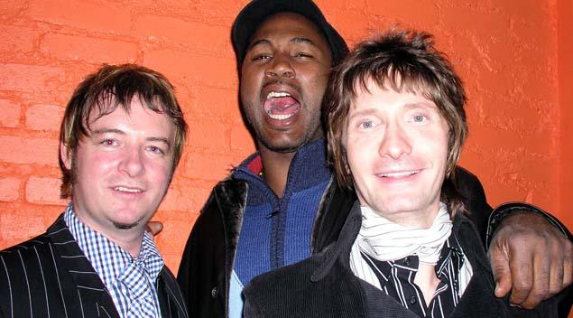 Bobbi Guy, Lennox Lewis, and Mark Holmes on opening night. Photo by Trevor Roberts.