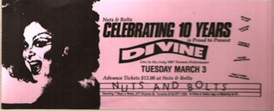 Flyer for Divine at Nuts & Bolts, 1987