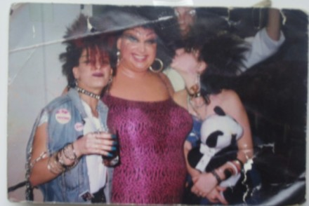Drag legend Divine at Nuts & Bolts, March 1987. With Nuts & Bolts regulars Lynette and Sherri.