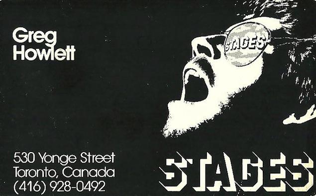 Greg Howlett's calling card. Courtesy of Andrée Emond.
