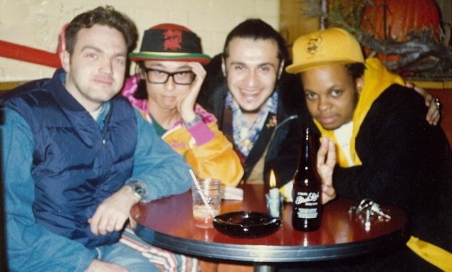 Maxwell Blandford (left) with Towa Tei and Super DJ Dmitri of Deee-Lite, and their tour manager. Photo courtesy of Blanford.