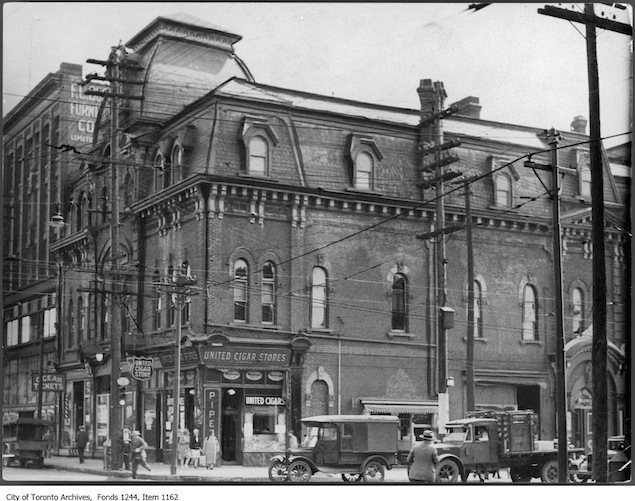 The south-east corner of Queen and Bathurst, circa 1928.