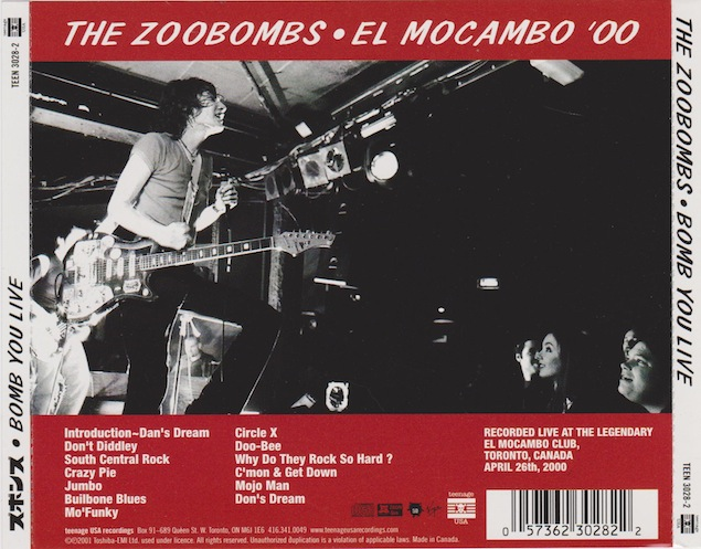 The El Mocambo, 1989-2001 GTO ___ El-Mo-Zoobombs-CD