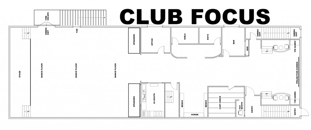 Club Focus floor plan, as drawn by Paul Seguro.