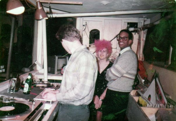 DJ Larry Saint and friends in the Klub Domino DJ booth, built largely by Avery Tanner. Photo courtesy of Saint.
