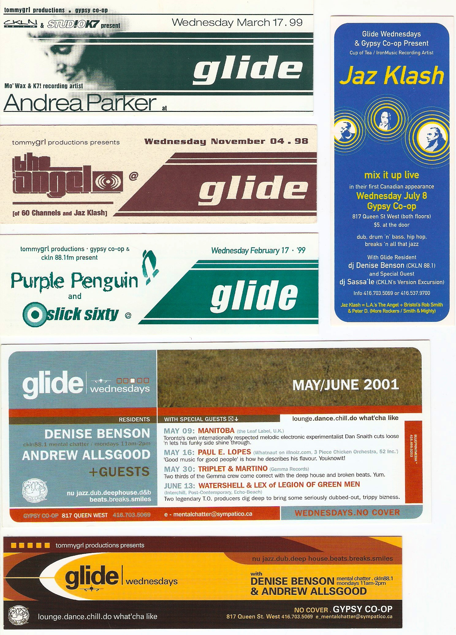 Collection of Glide Wednesdays flyers. Courtesy of Denise Benson.
