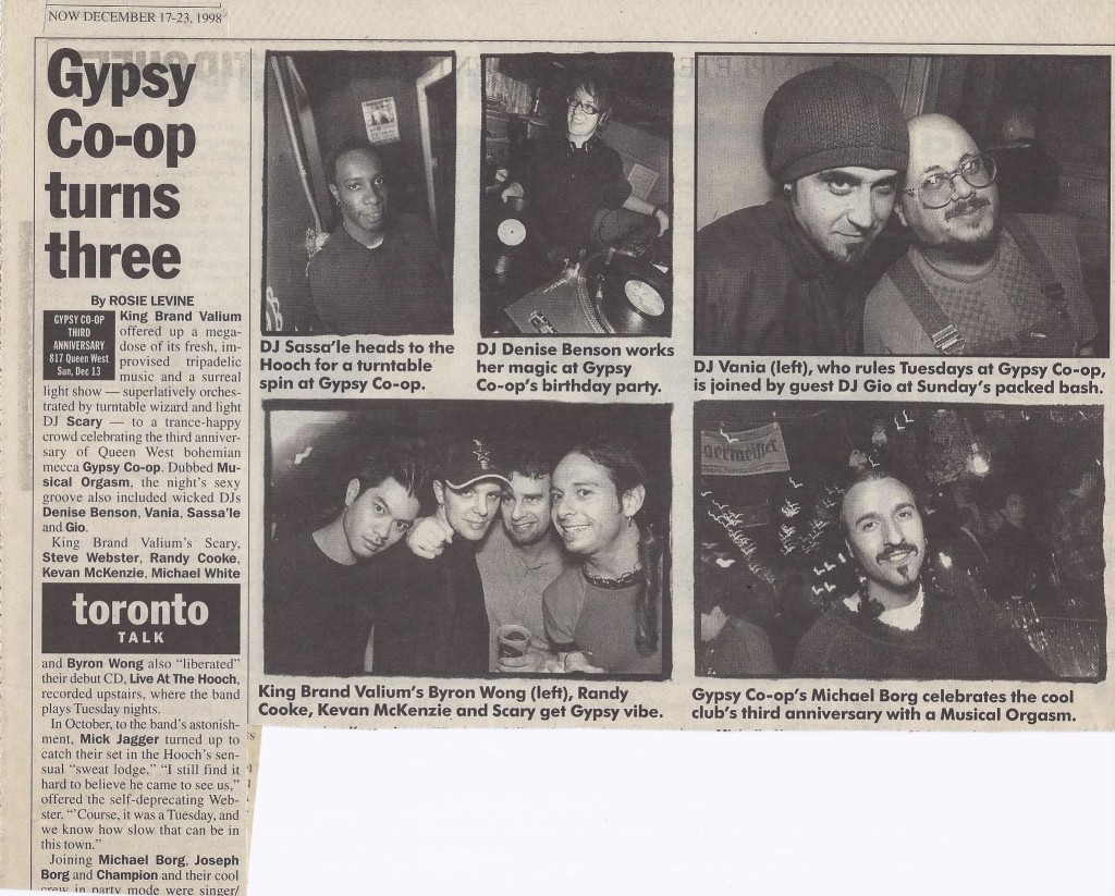 Coverage of Gypsy Co-op's 3rd anniversary in NOW Magazine, December 1998. Image courtesy of Mike Borg.