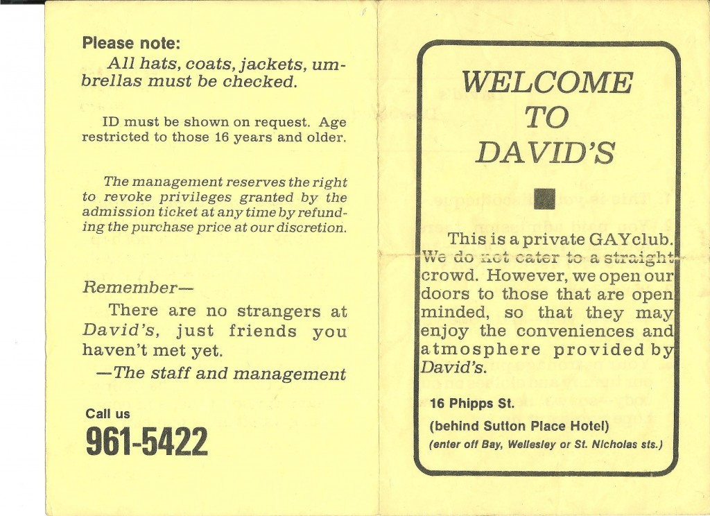 Club David's welcome policy, courtesy of Wendy Peacock.