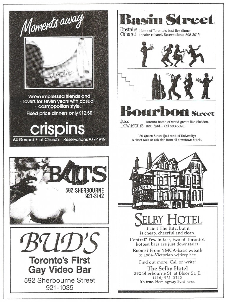 Ads placed for Jerry Levy's varied establishments, circa earlu-1980s. Image courtesy of the Canadian Lesbian & Gay Archives.