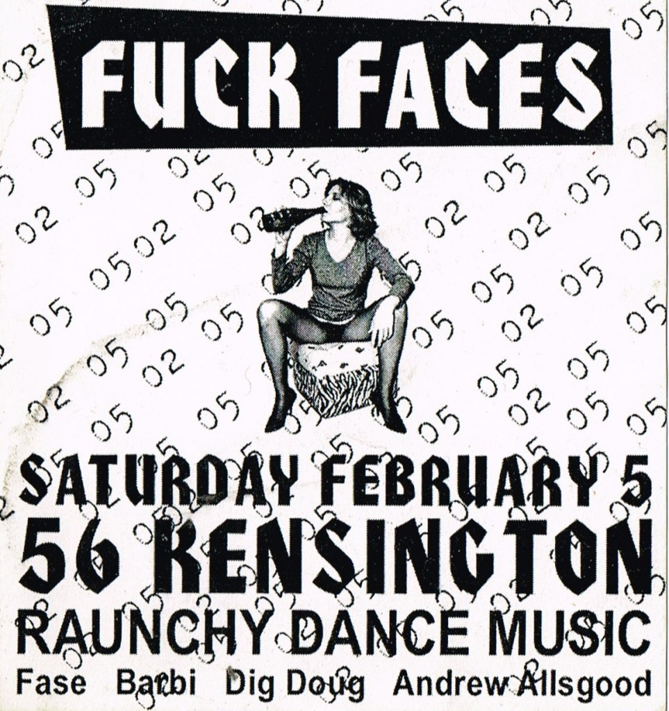 Fuck Faces flyer from Dougie Boom