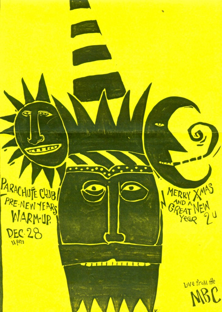 Poster for Parachute Club's live debut. Courtesy of Lorraine Segato.