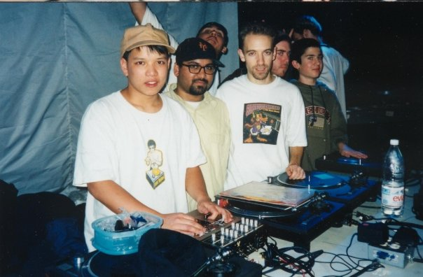 Deep Concentration DJs (L-to-R): Kid-Koala, Jazzbo, Peanutbutter Wolf, Cut Chemist, A-Trak, and Grouch behind. Photo courtesy of Carlos Mondesir.