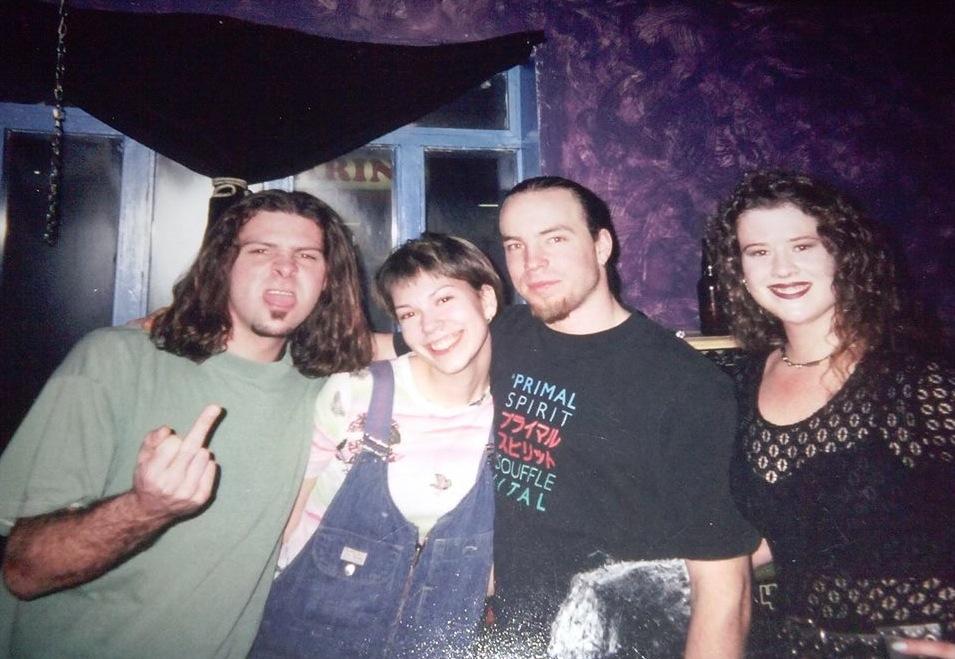 L-to-R: Steff, Karen, Trevor 'DJ Tex' Mais, Sherry in the Bop's main level, 1998. Photo courtesy of Mais.