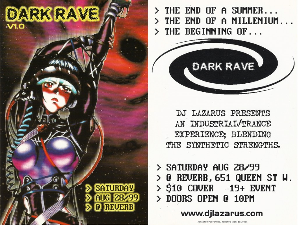 Flyer for the first Darkrave event courtesy of Lloyd 'DJ Lazarus' Warren.