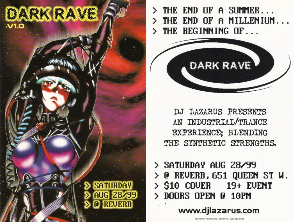 Flyer for the first Darkrave event courtesy of Lloyd 'DJ Lazarus' Warren.