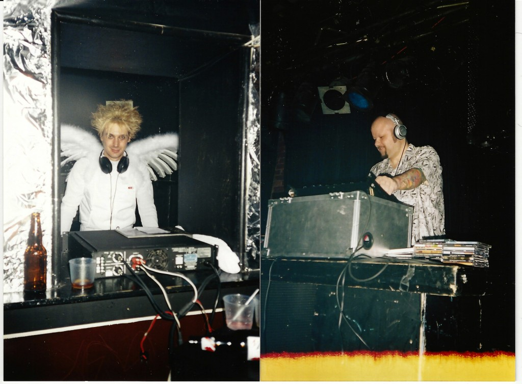 DJ Lazarus (left) and DJ Phink playing different rooms at a Darkrave. Photo courtesy of Lloyd Warren.