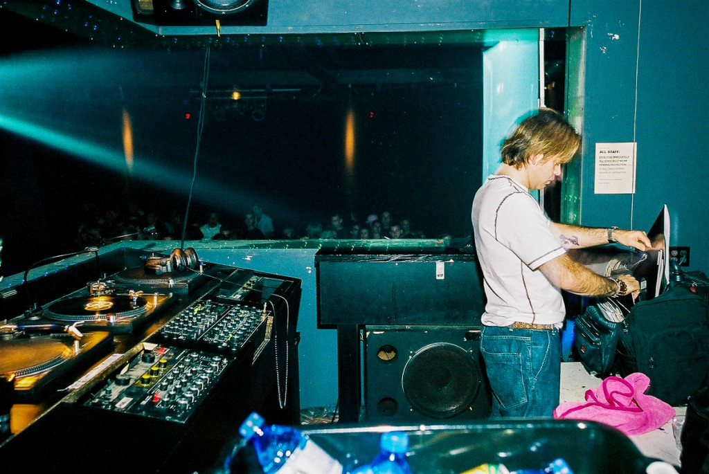 Paul Oakenfold in early 2000s Guvernment DJ booth. Photo by Tobias Wang of VisualBass Photography.