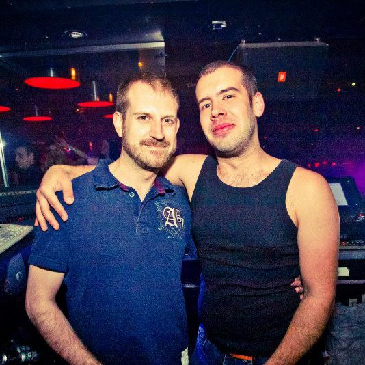 Guv lighting tech Alex 'Billy' Korittko (right) with his partner Jason Nardari.