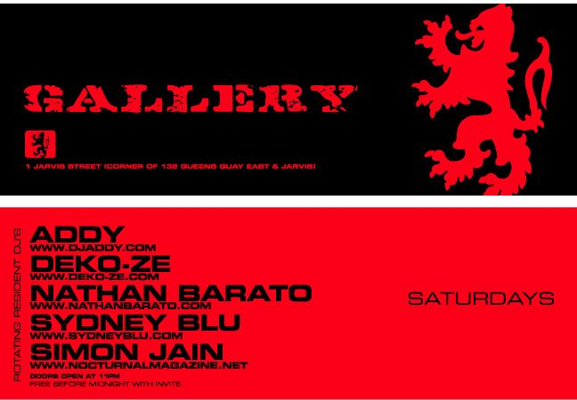 Original flyer for Gallery. Courtesy of Sydney Blu.
