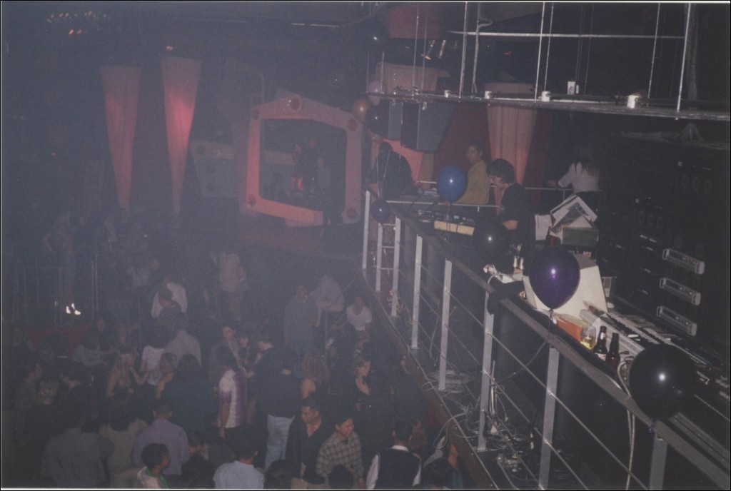 Guv's original DJ booth. Photo taken December 31, 1996 by a Then & Now reader.