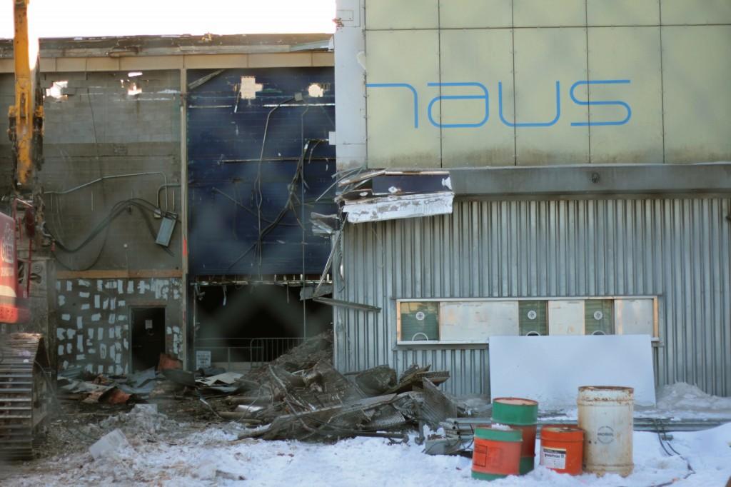 Demolition of KoolHaus in progress. Photo by Kurtis Hooper.