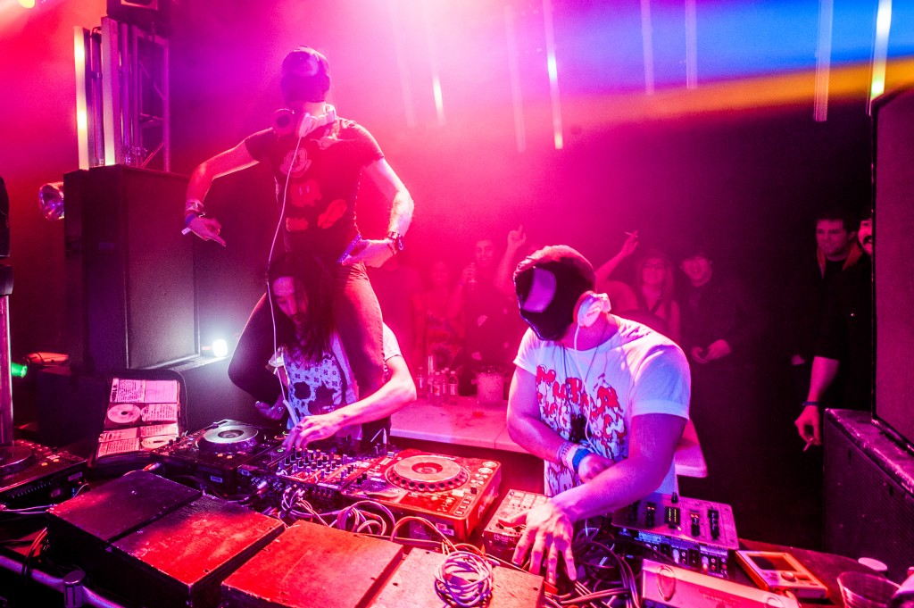 Steve Aoki with Bloody Beetroots. Photo by Tobias Wang of VisualBass Photography.