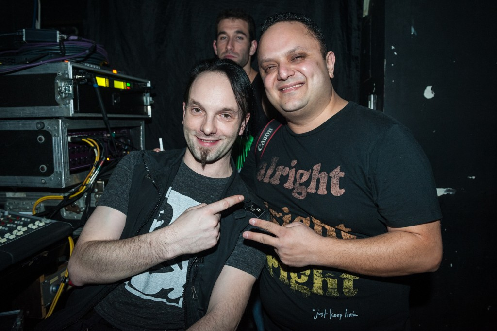 Guvernment Audio Tech Tim Crombie (left) with photographer Shaya Golbabaei. Photo by Tobias Wang of VisualBass.