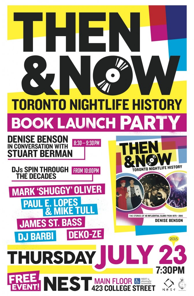 Then & Now launch party poster design by Noel Dix
